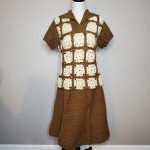 Vintage Granny Square Shawl Collar Top &  Skirt